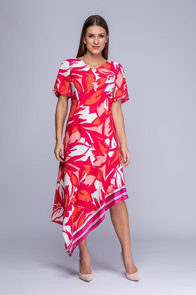 002 suknia Ingrid różowe kwiaty prz