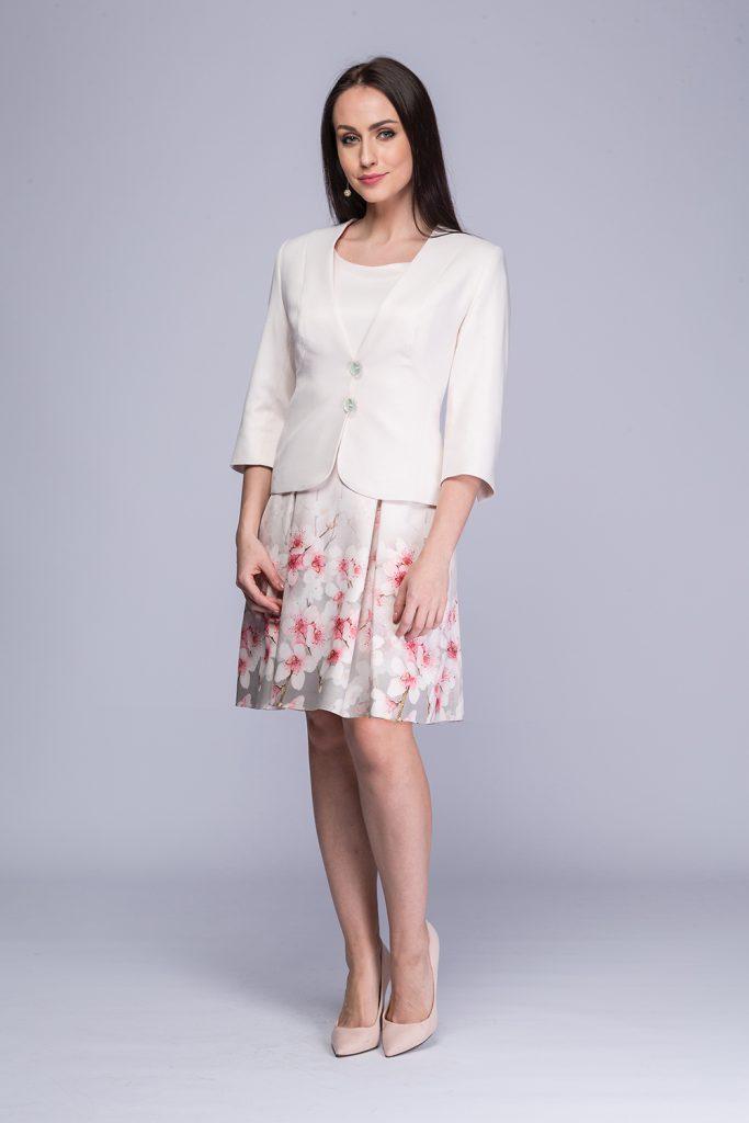 007 suknia Karina + żakiet Alma różowe kwiaty