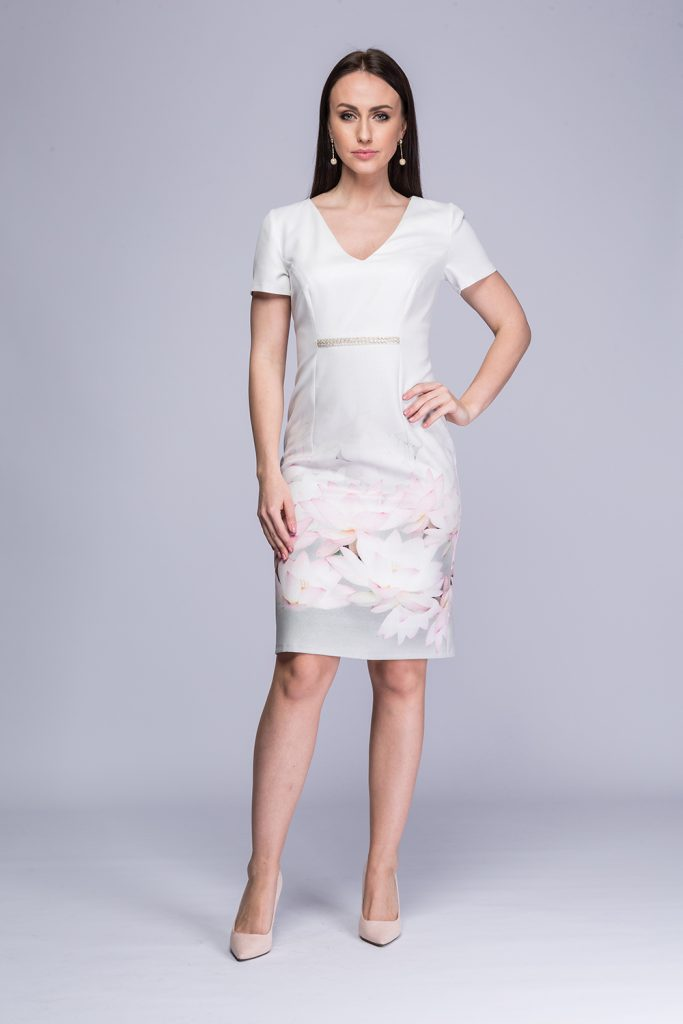 009 suknia Mirra szara lilie