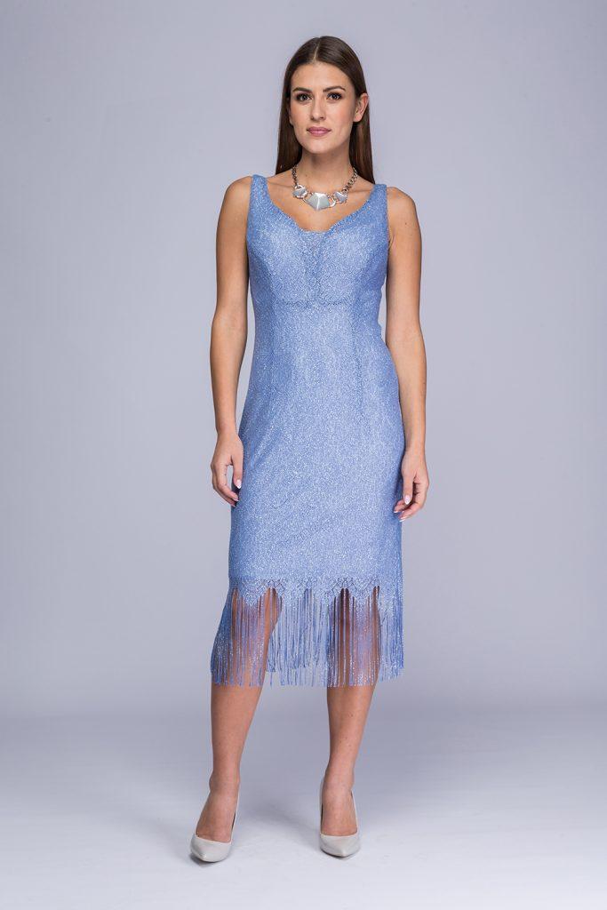 011 suknia Betty niebieska frędzle prz