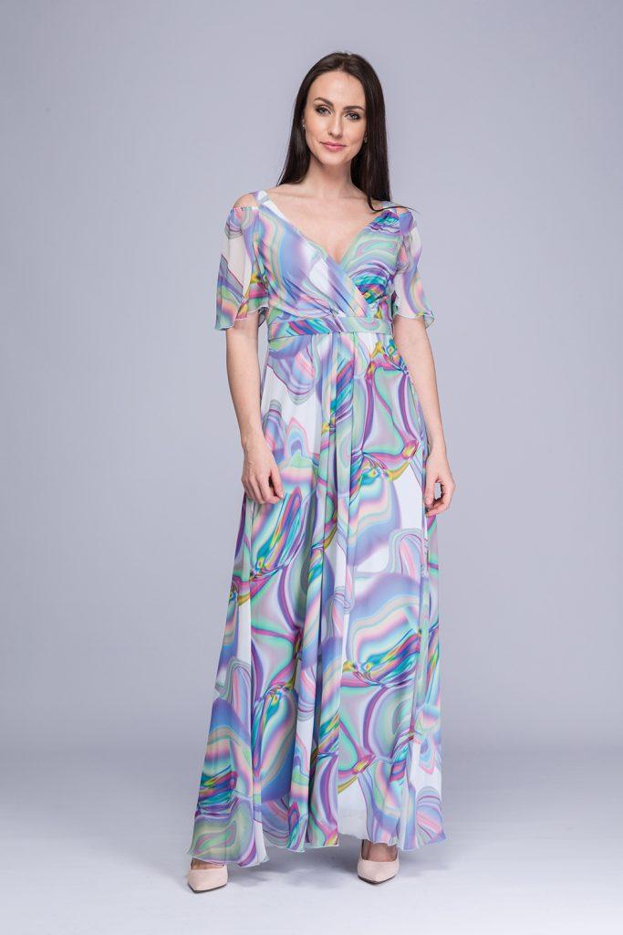 012 suknia Gella kolorowe fale