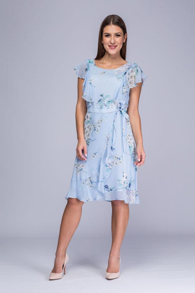 014 suknia Irina niebieskie kwiaty