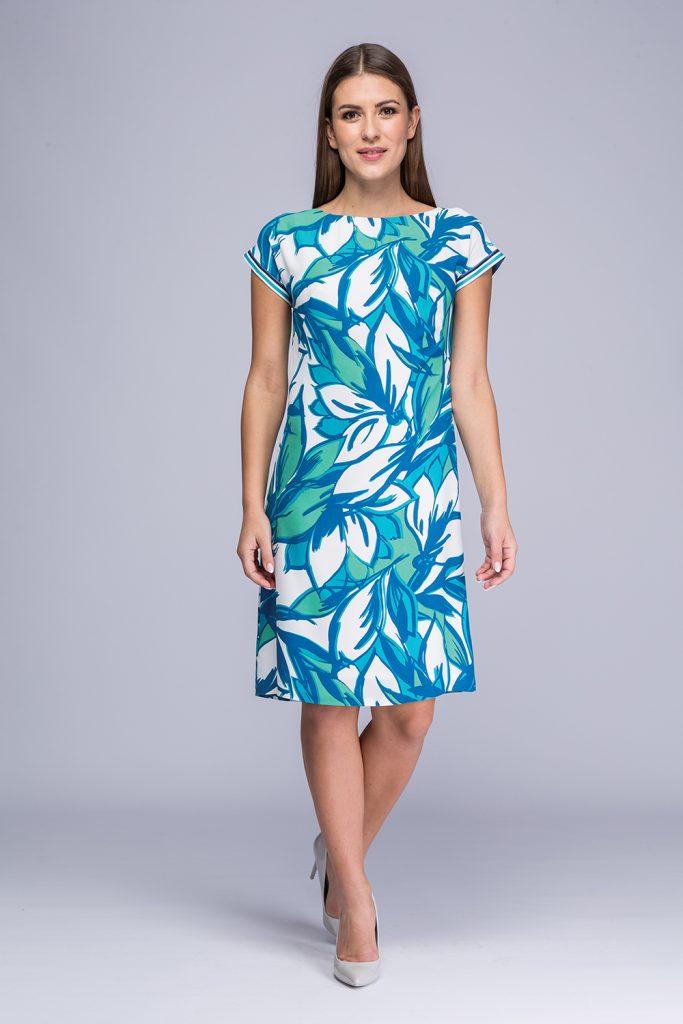 021 suknia Yuka turkusowe kwiaty
