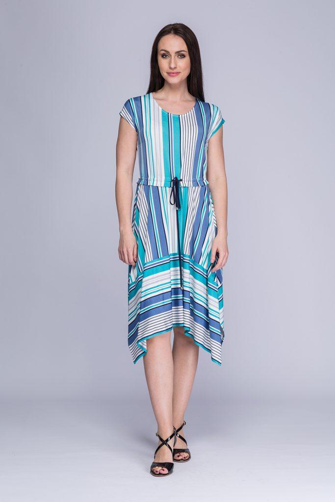 022 suknia Rumia niebieskie paski