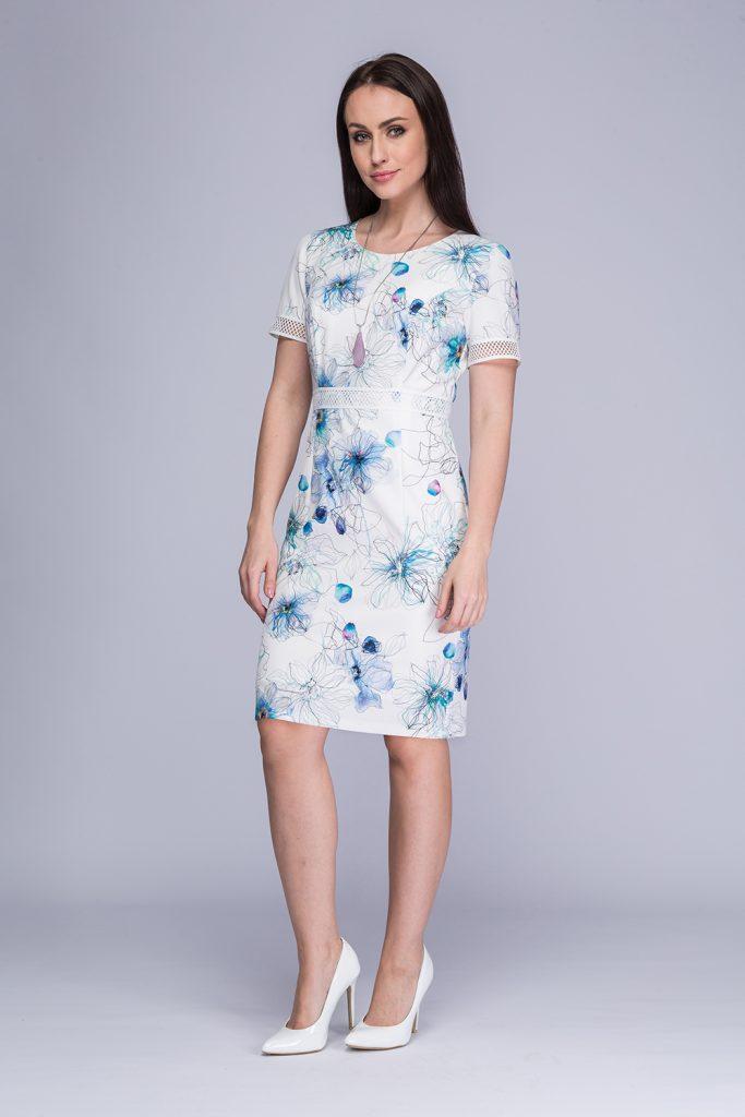 023 suknia Minori biało-niebieskie kwiwty