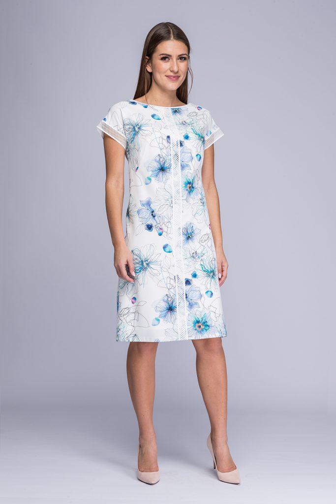 024 suknia Yuka biało-niebieskie kwiaty prz