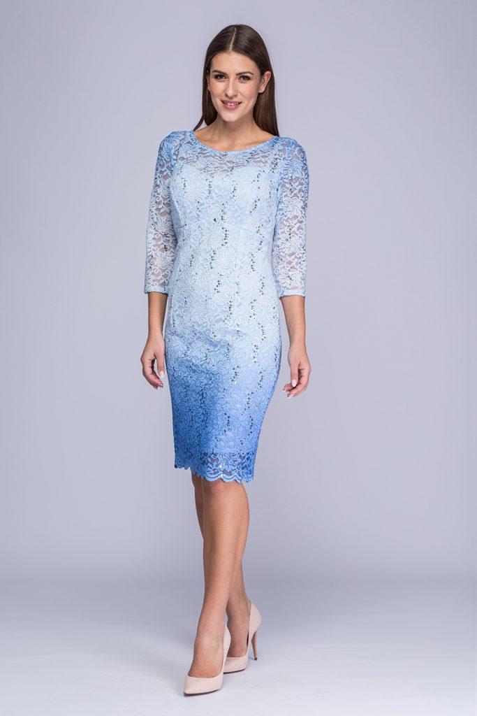025 suknia Carmen niebieska cieniowana
