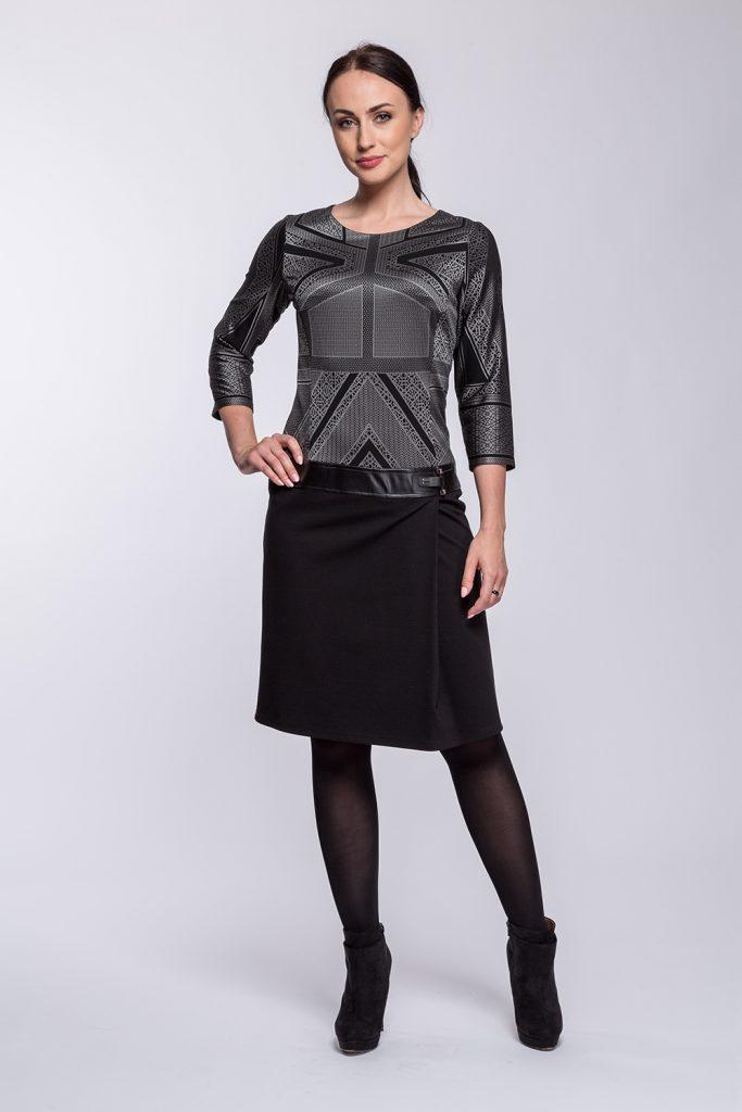 1 suknia Milena geometria czarno-szara prz s