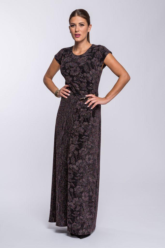 20 suknia Avril długa śliwkowy brokat